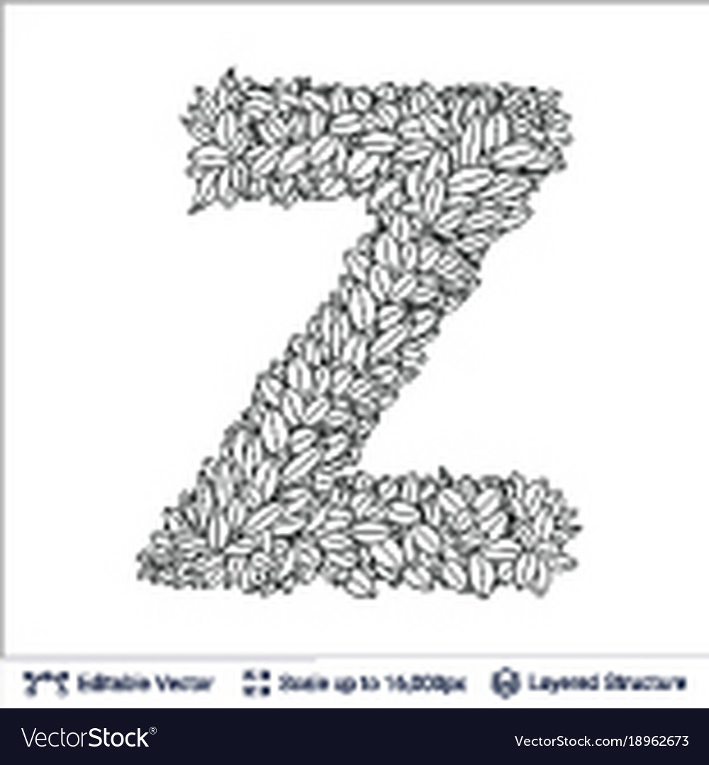 Letter Z Symbol Of White Leaves Royalty Free Vector Image