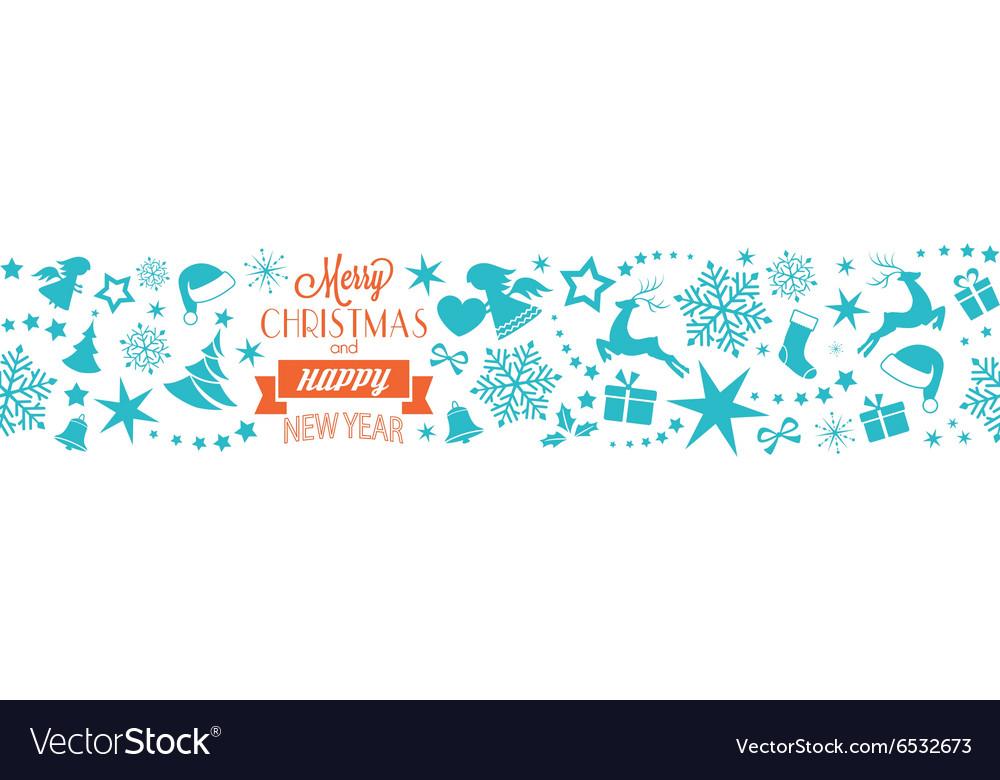 Merry Christmas Happy New Year border vector image