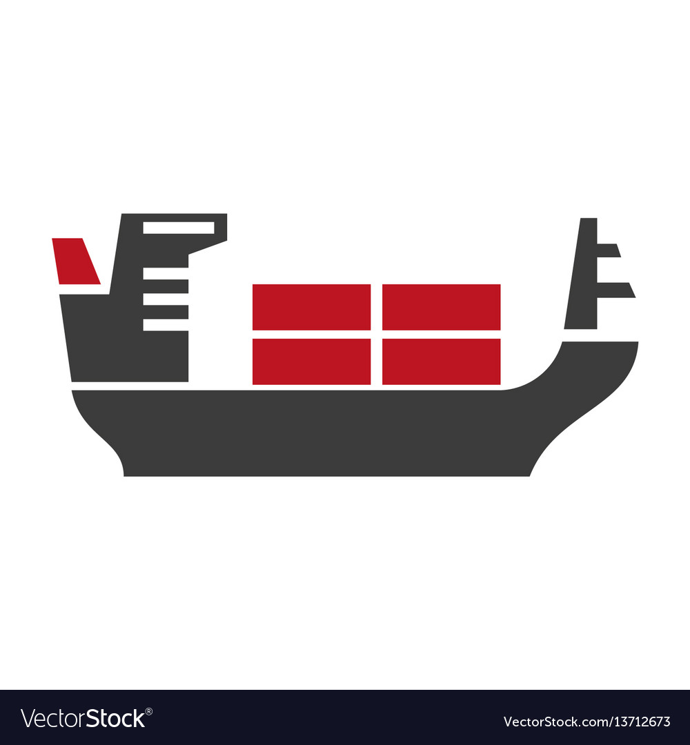 Ship with baggage silhouette logo icon on