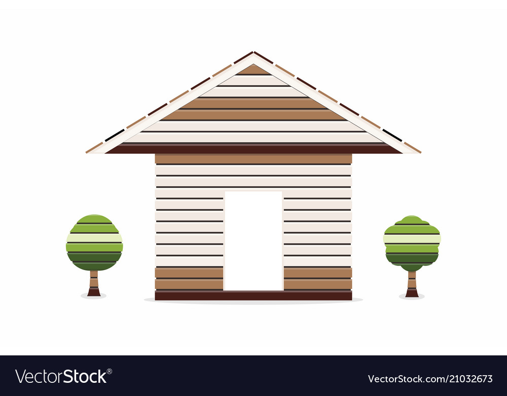 Wooden house with small tree on white background