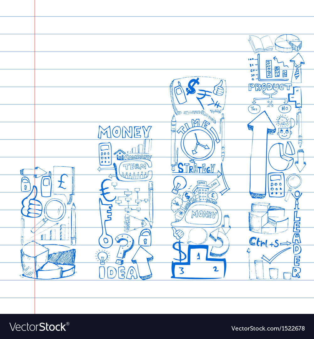 Business Doodle Bar Graph vector image