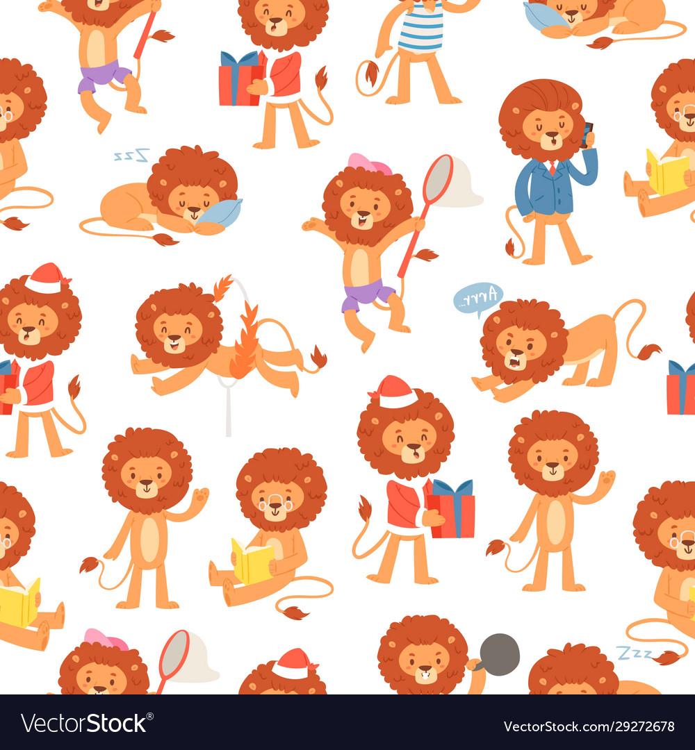 Cartoon lions seamless pattern