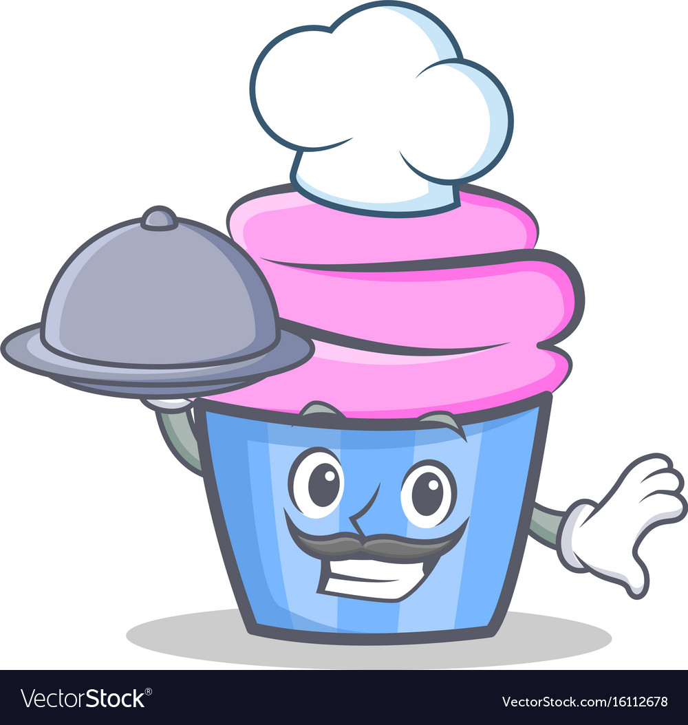 Chef cupcake character cartoon style with food