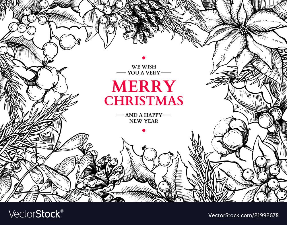 Christmas wreath frame hand drawn