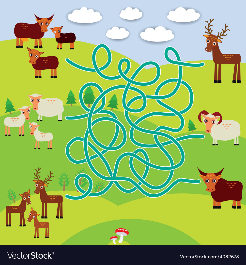 Farm animals - sheep deer cow labyrinth game for