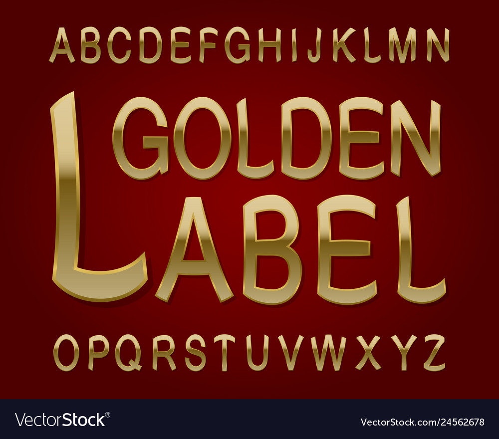 Golden label typeface retro font isolated