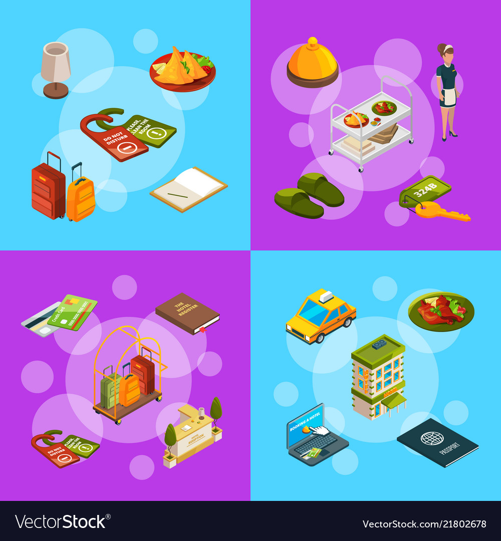 Isometric hotel icons infographic concept