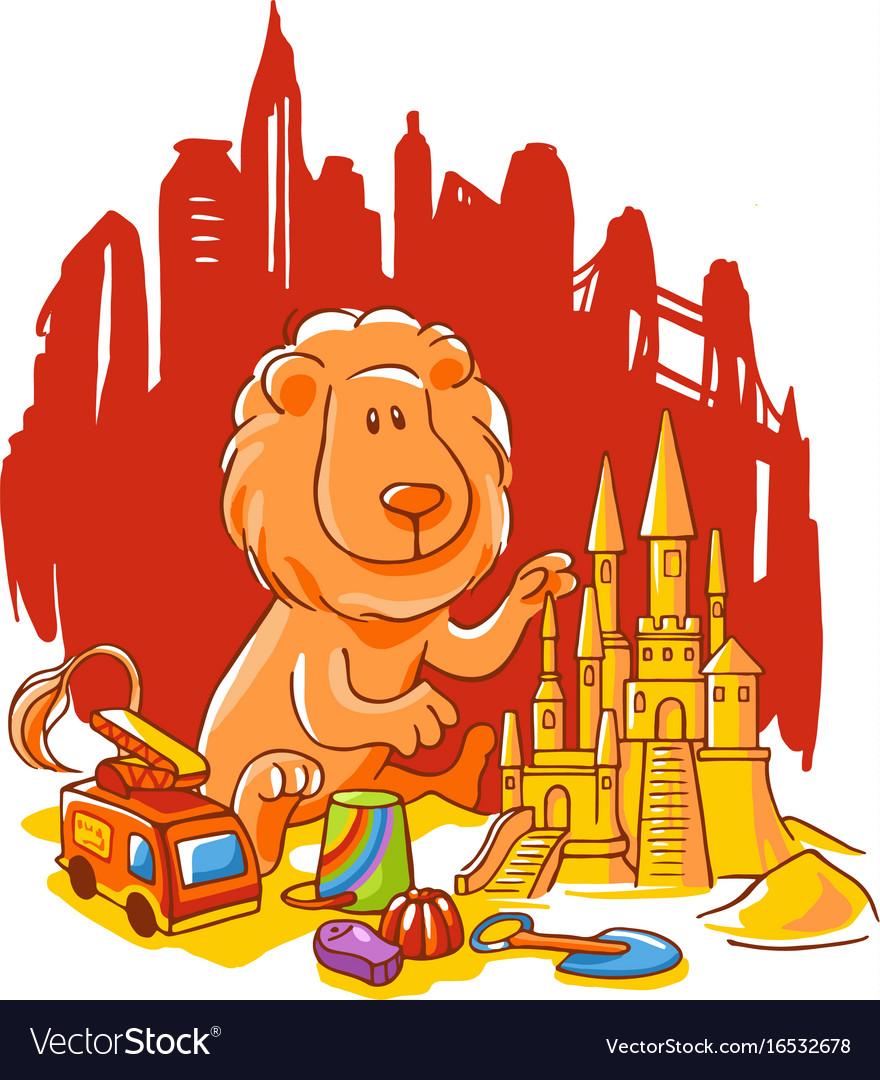 Lion cartoon character vector image
