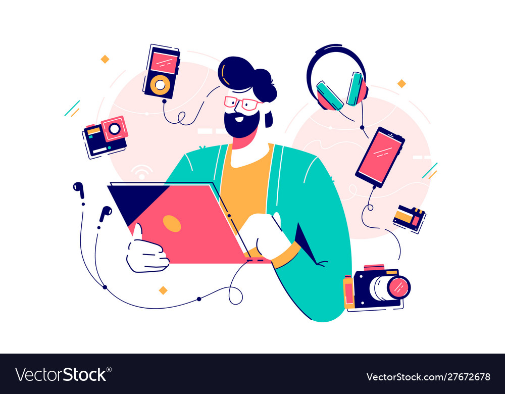Male character surrounded with gadgets flat design