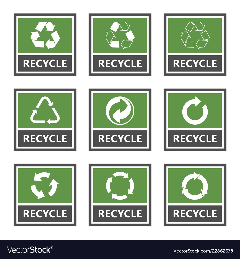 Recycling label set recycled cycle arrows icons