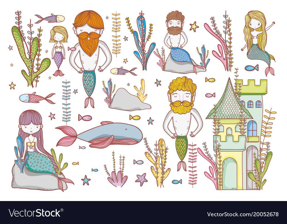 Seaworld creatures cartoon doodles