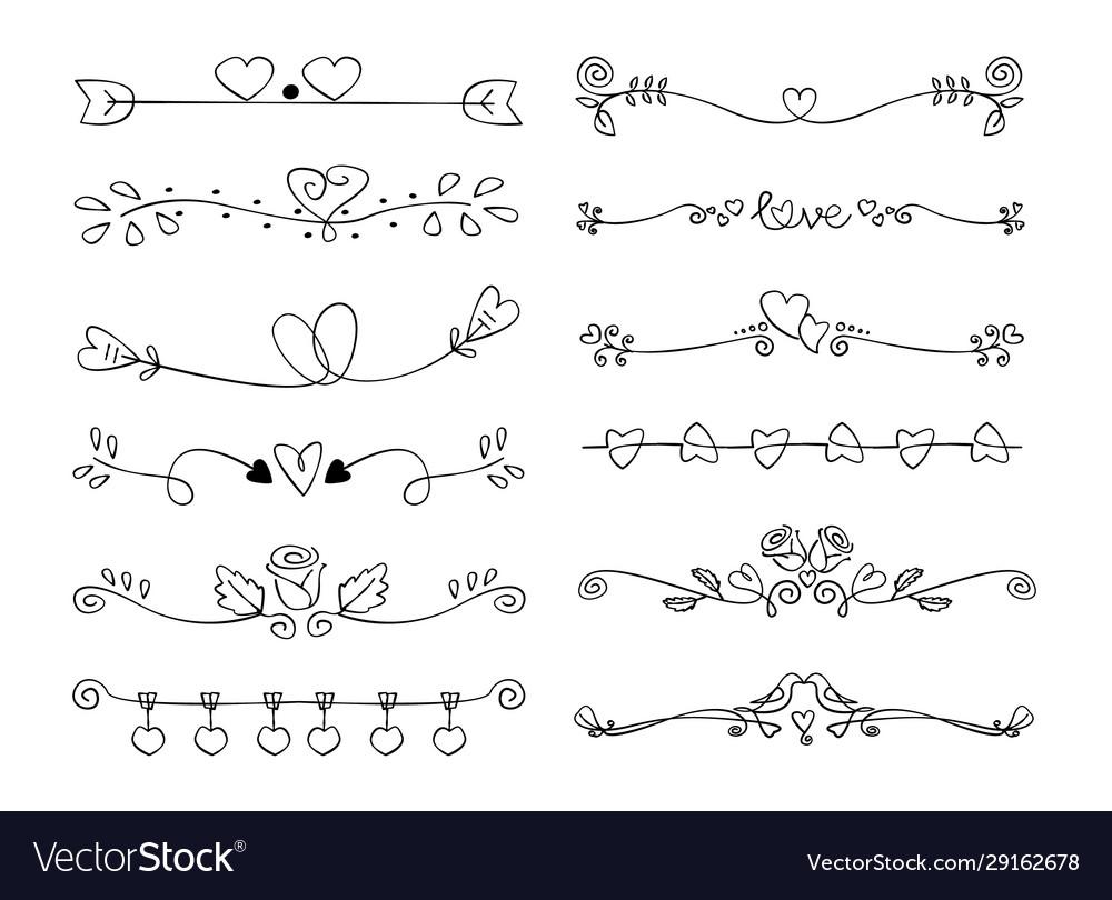 Set heart decorative calligraphic handmade