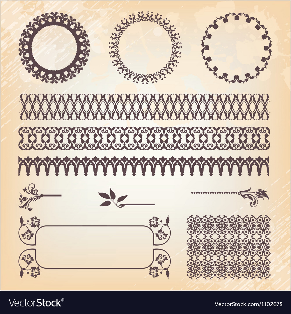 Vintage style ornate design ornaments and page