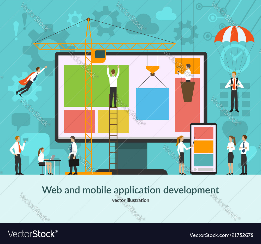 Web and mobile application development concept