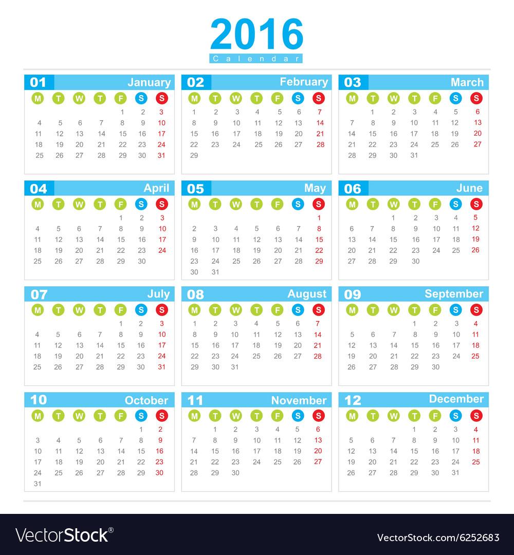 2016 Calendar week start monday