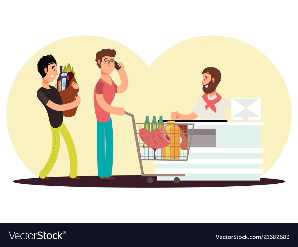 Cash turn in food store cartoon character men buy