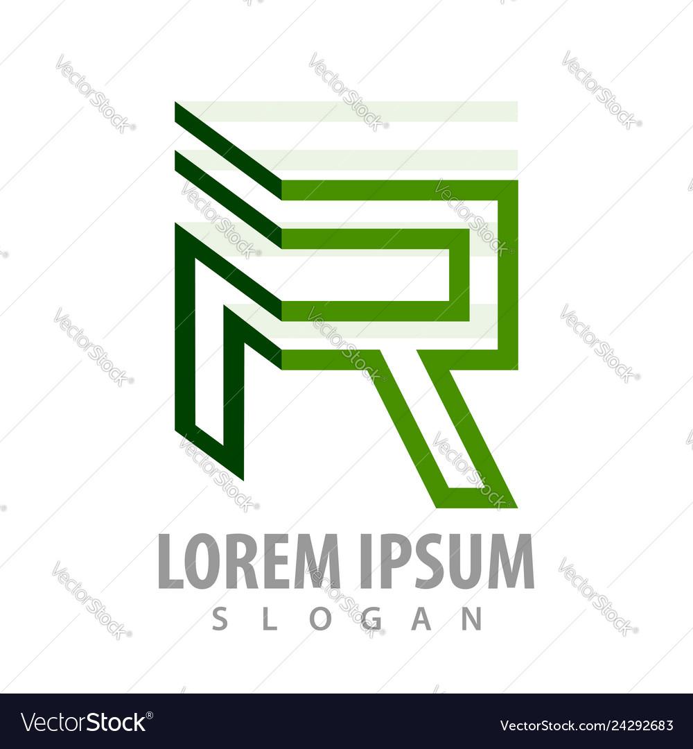 Green line letter r concept design symbol graphic