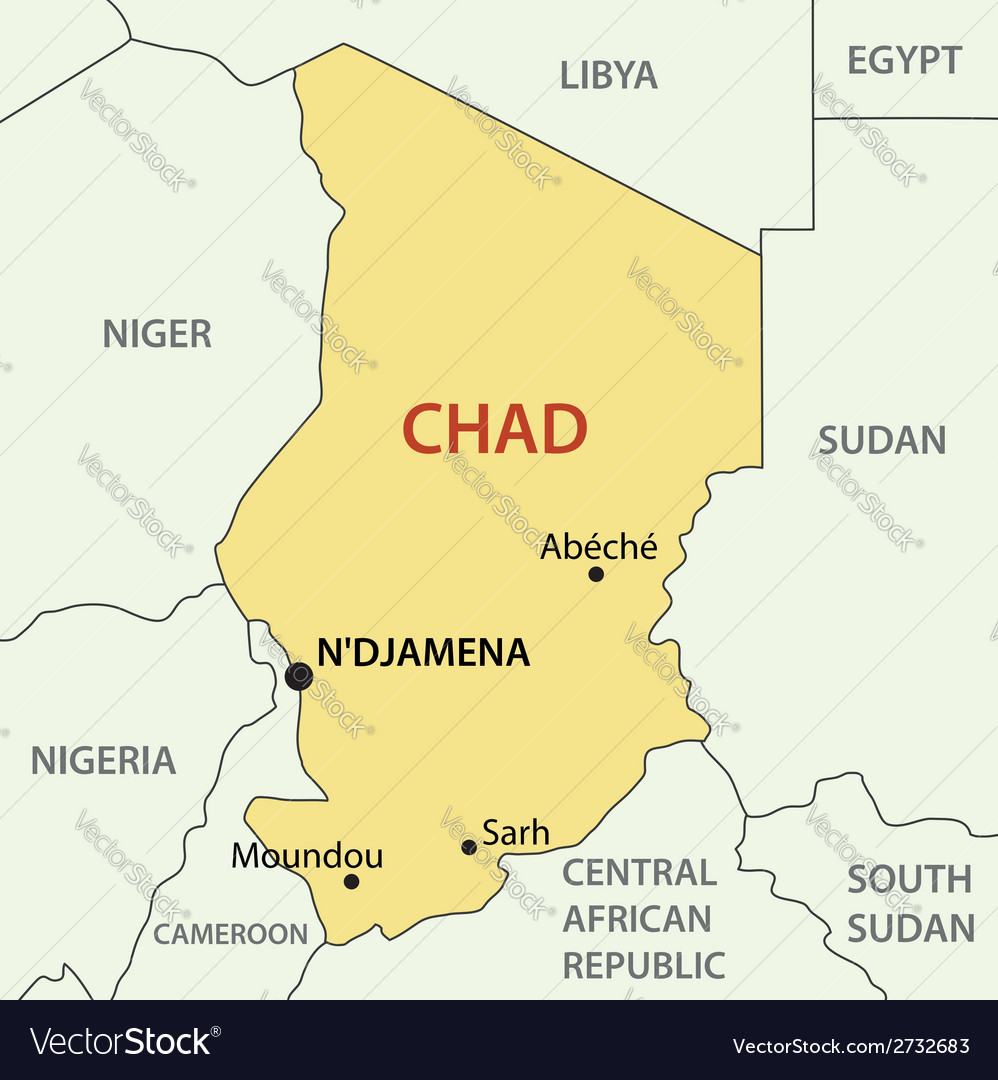 Map Of Chad Republic of Chad   map Royalty Free Vector Image