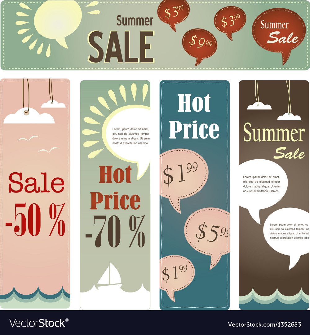 Retro tag set for summer sale