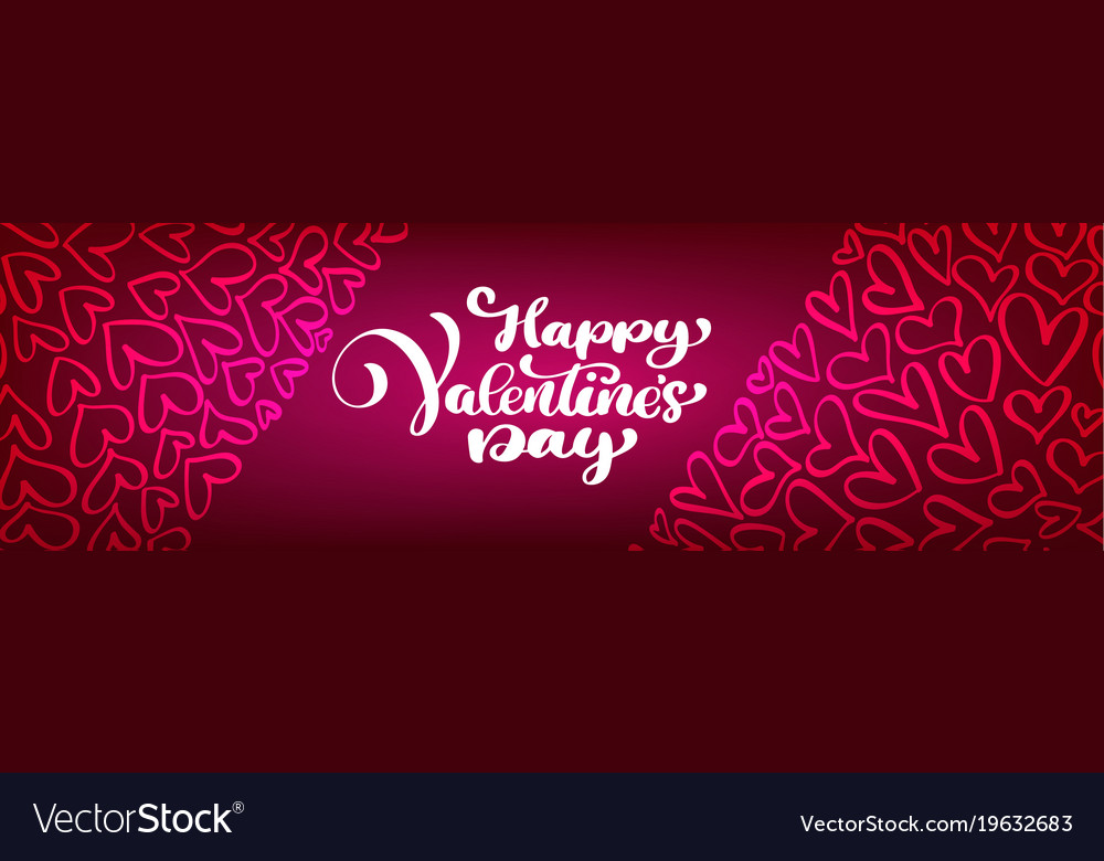 Text lettering happy valentines day banners