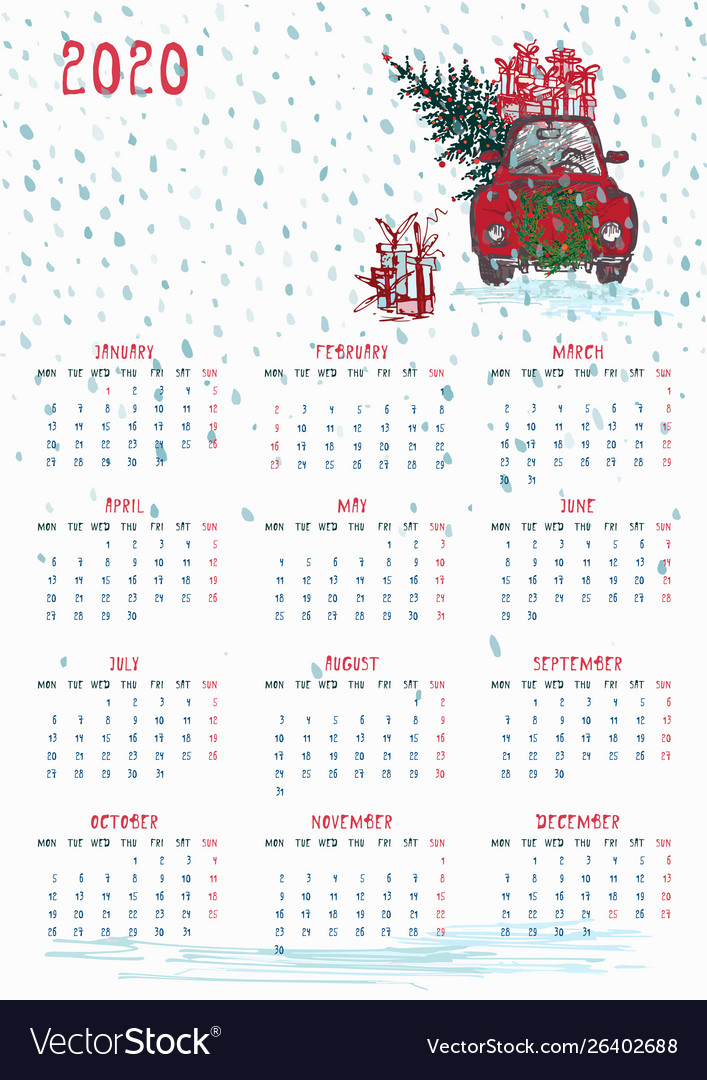 Calendar Christmas 2020 2020 calendar planner whith red christmas truck Vector Image