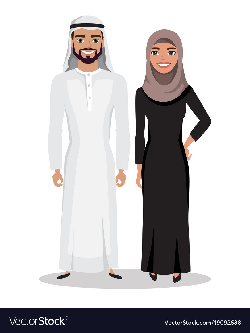 Arabic man and woman in traditional national