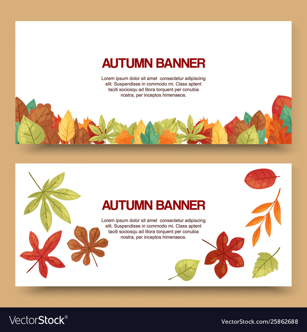 Autumn leaves set banners