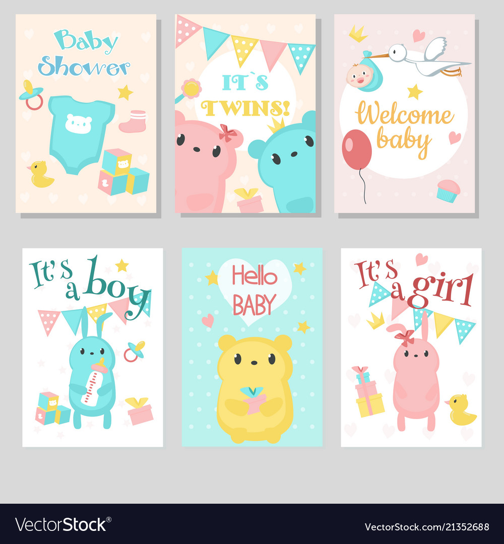 Baby shower invitation template set