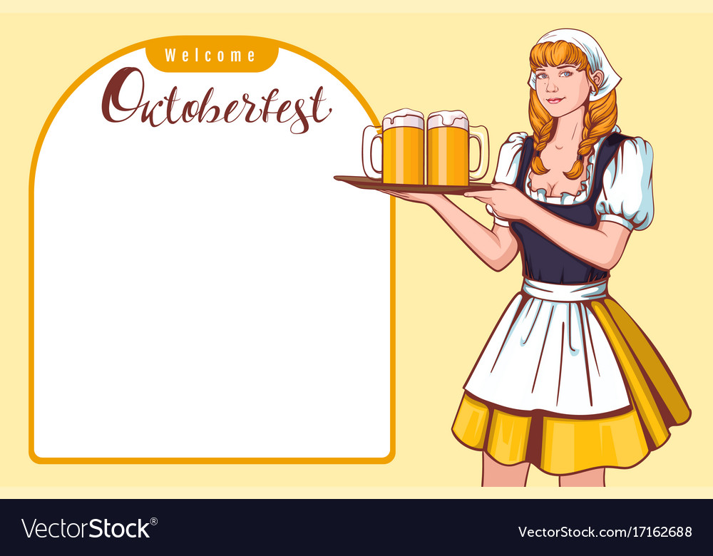 Beautiful young woman waiter holding tray with