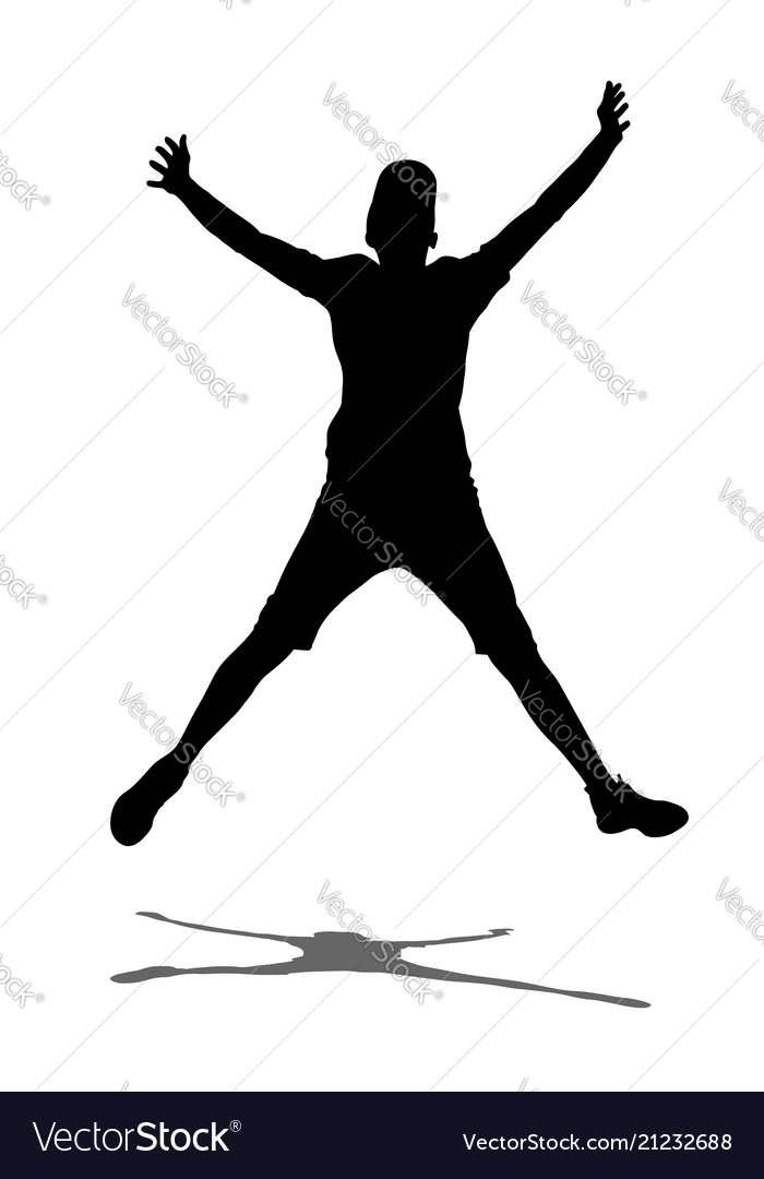 Boy jump with hands up shadow silhouette