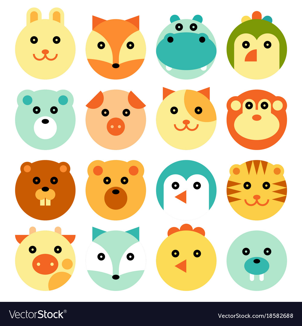 Cartoon animal head set