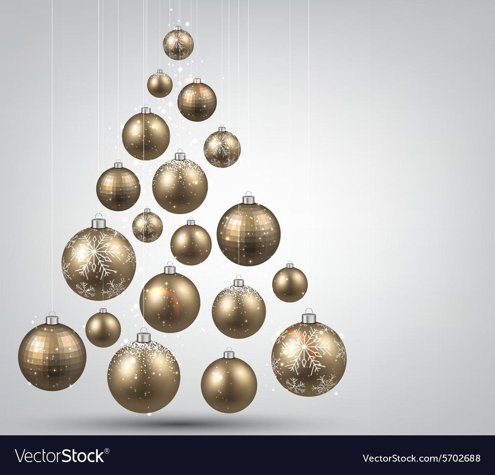 Christmas tree with golden christmas balls
