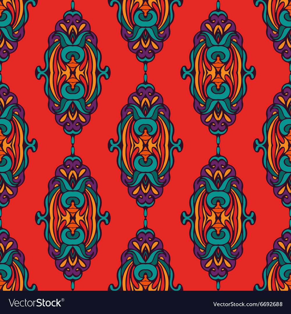 Damask colorful abstract seamless pattern