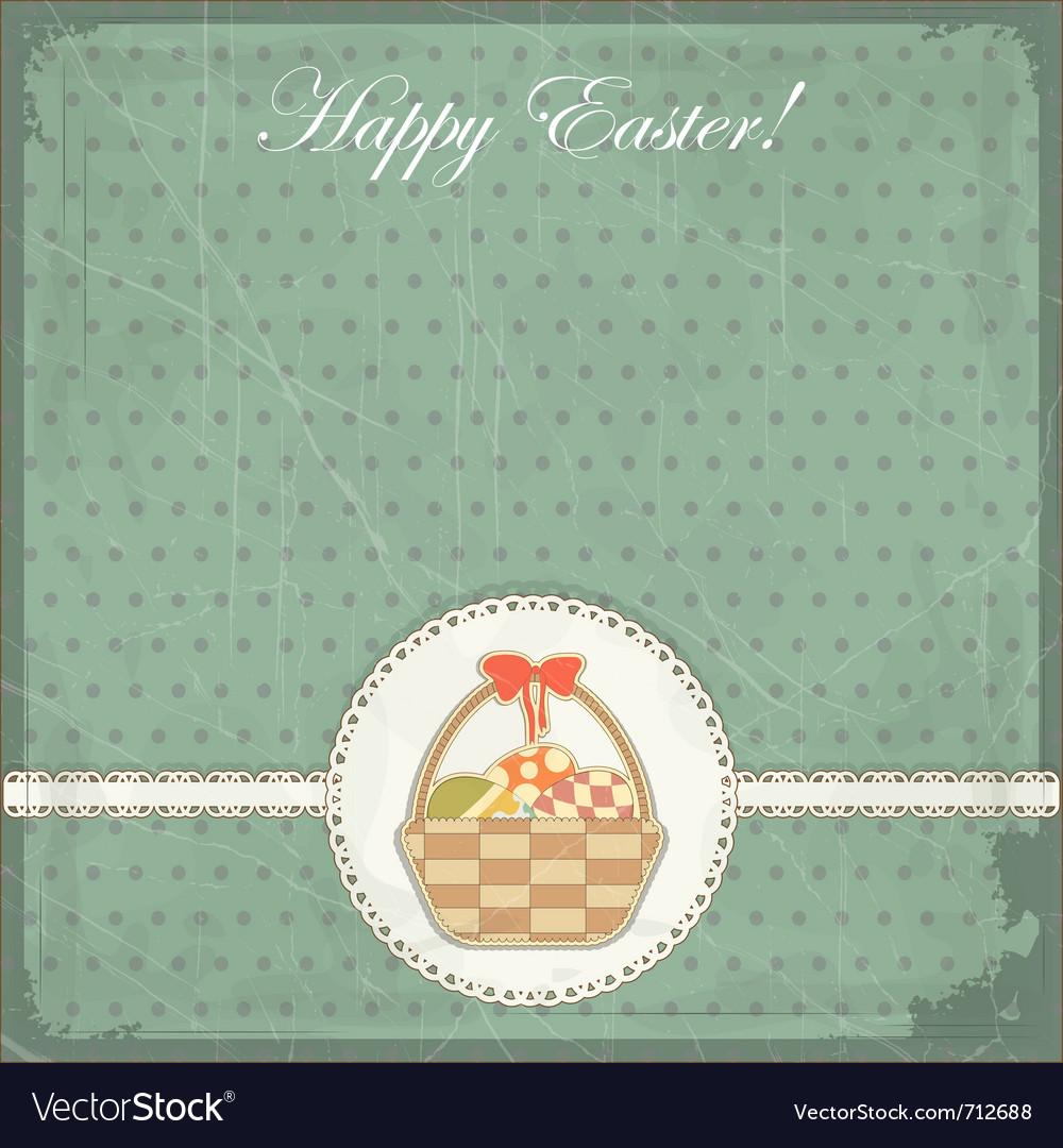 Easter card in vintage style - basket of easter eg