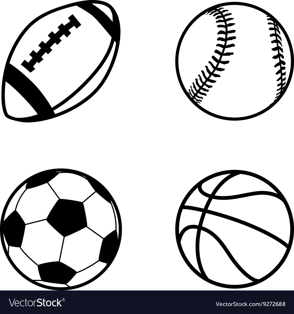 Four simple black icons of balls for rugby soccer