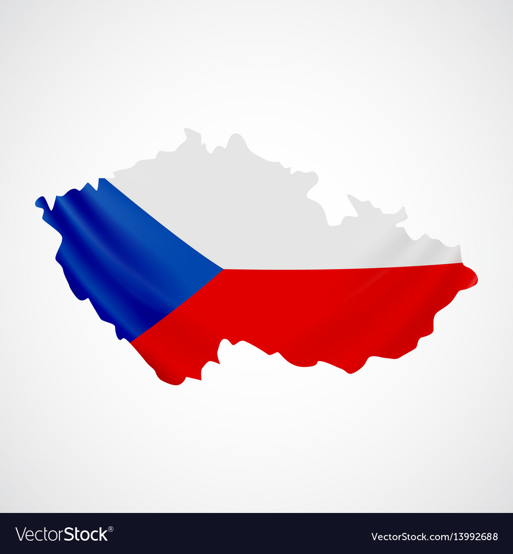 Hanging Czech Flag In Form Of Map Republic Vector Image