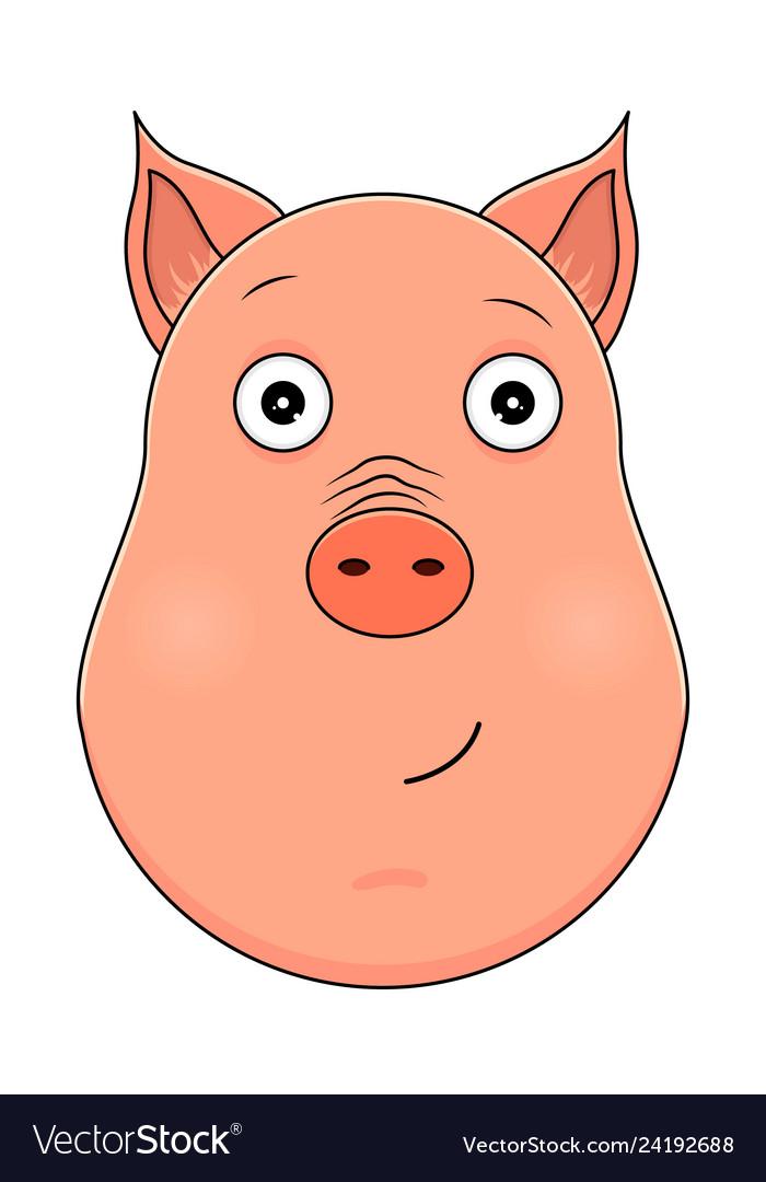 Head of serene pig in cartoon style kawaii animal