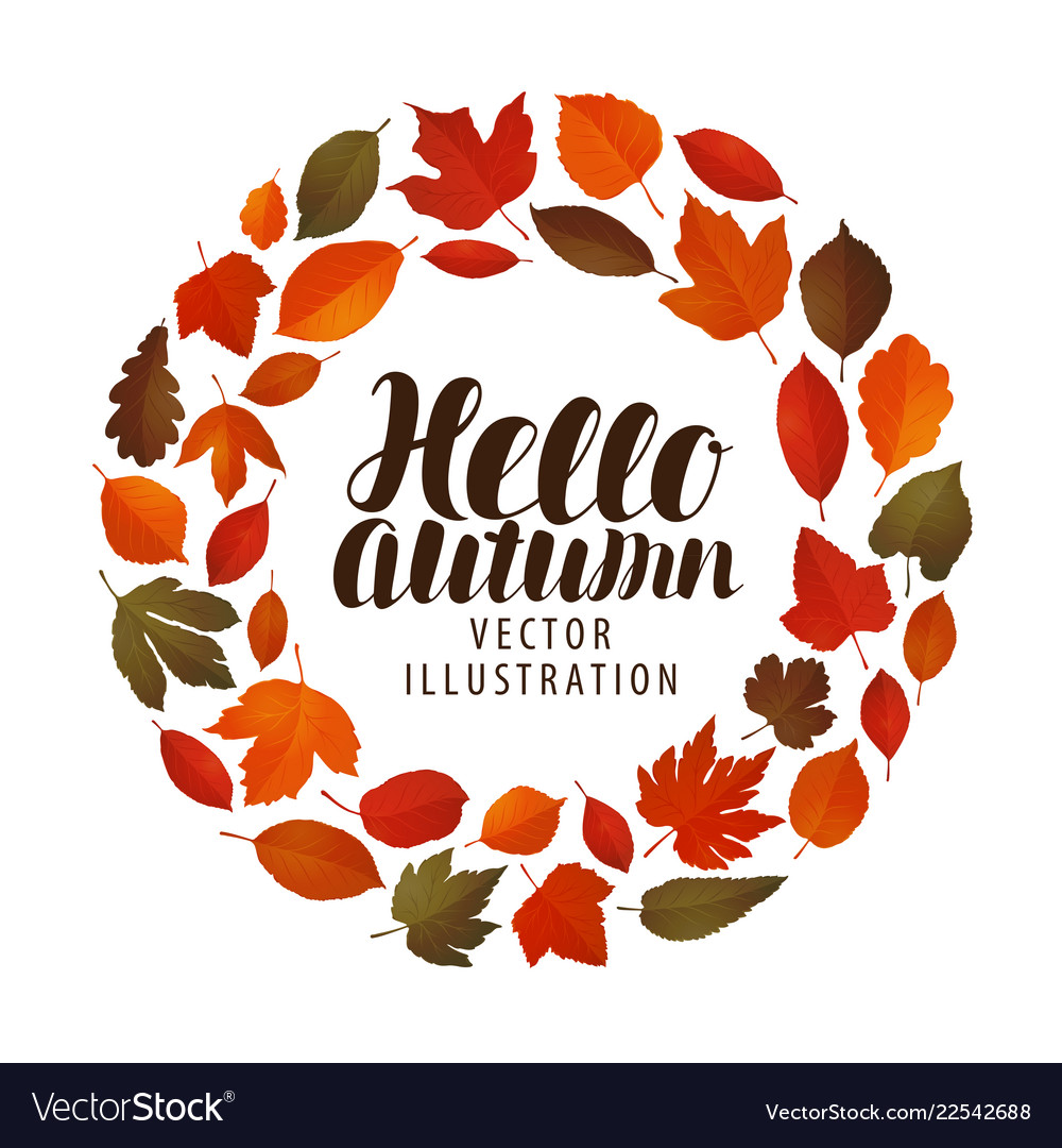 Hello autumn banner leaf fall decorative leaves
