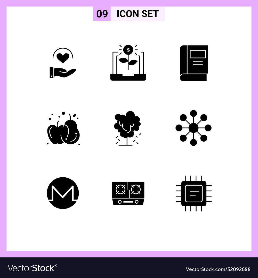 Modern Set 9 Solid Glyphs Pictograph Apple Vector Image