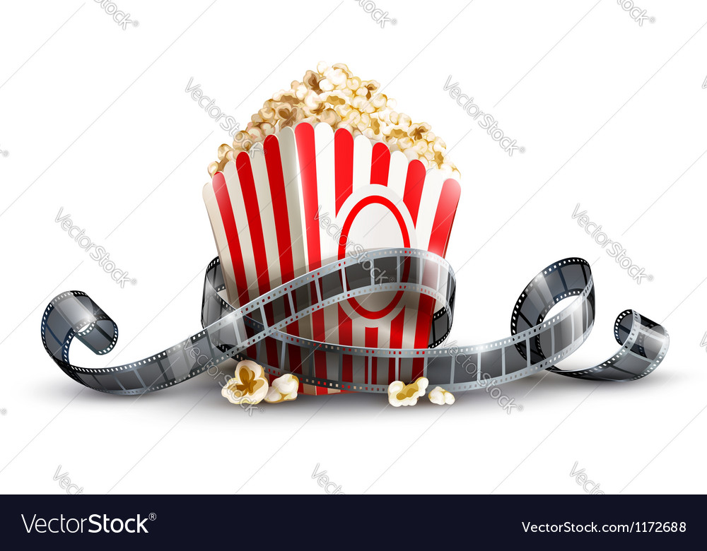 Paper bag with popcorn and vector image