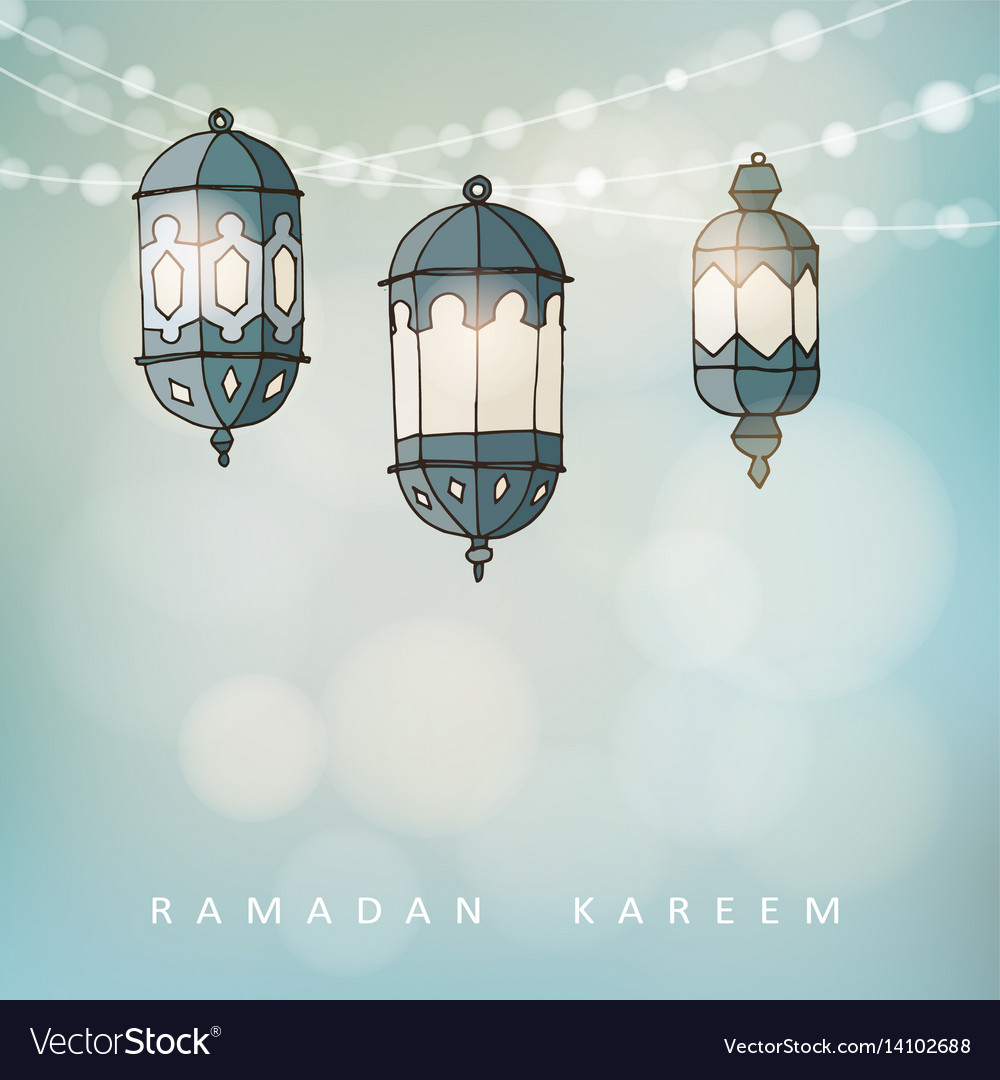 Ramadan lluminated arabic lanterns with a string vector image