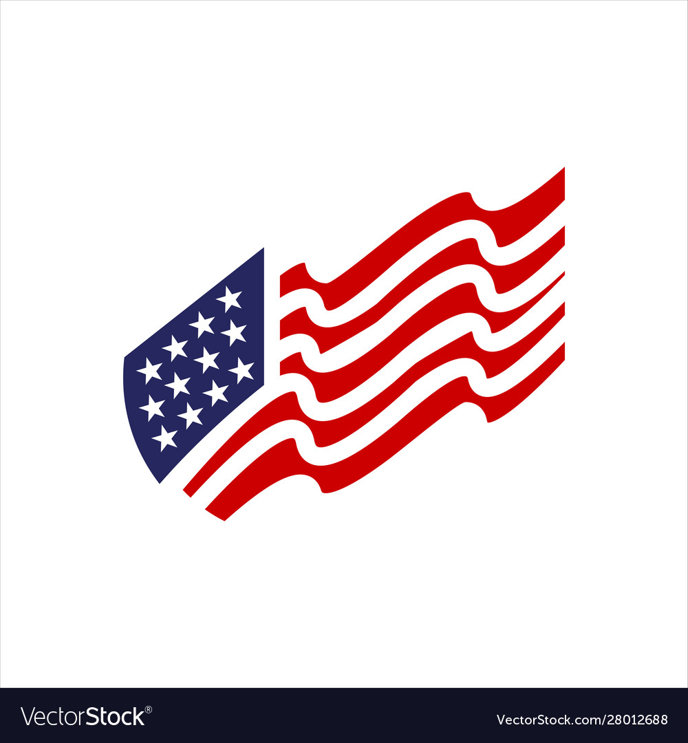 Red blue star and stripes america us flag logo Vector Image