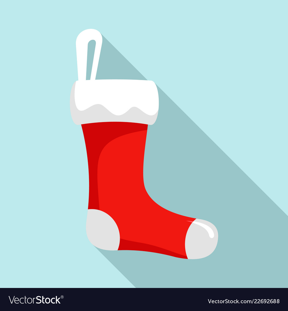 Red sock icon flat style