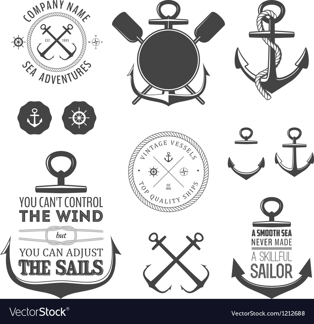 Set nautical labels icons and design elements