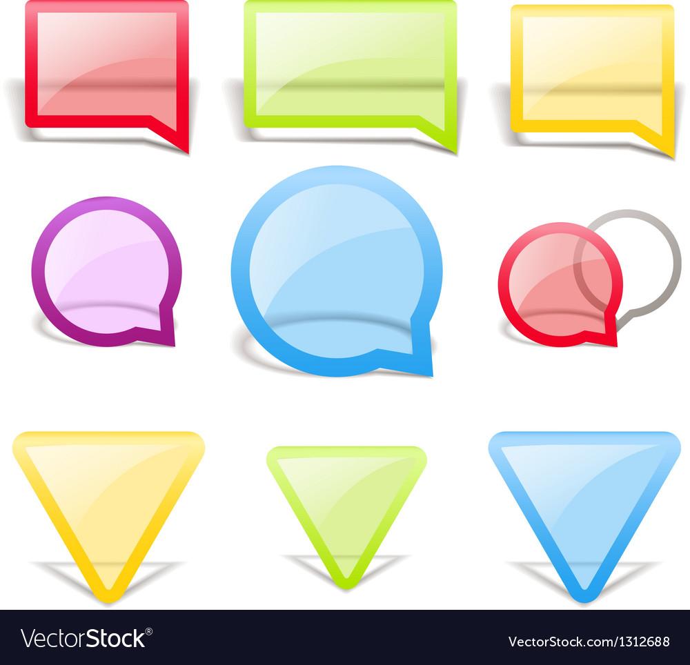 Set of glass style speech bubbles