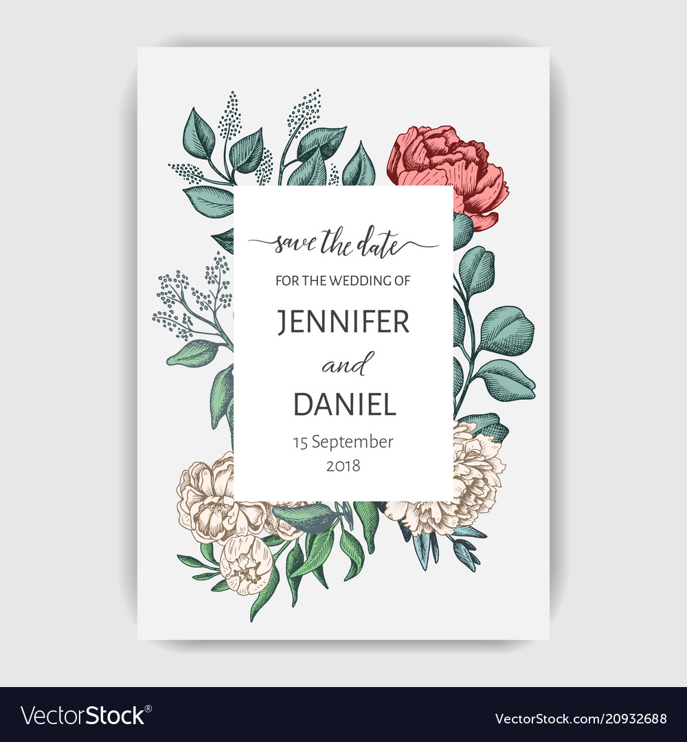 Template card for wedding invitation
