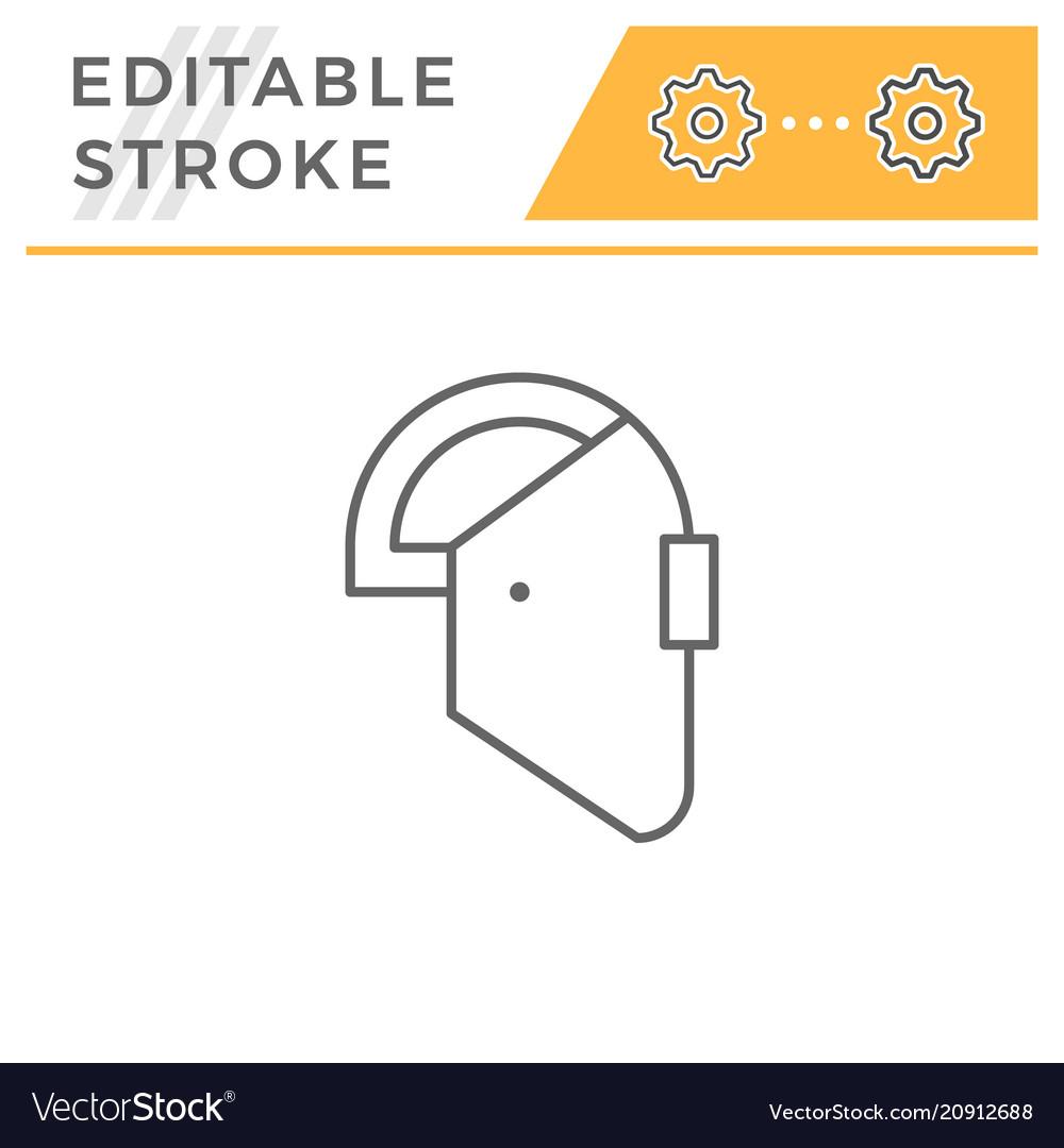 Welding Mask Line Icon Royalty Free Vector Image Helmet Diagram