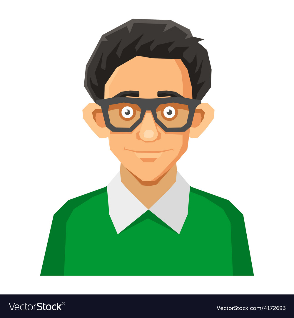 Cartoon Style Portrait of Nerd with Glasses and