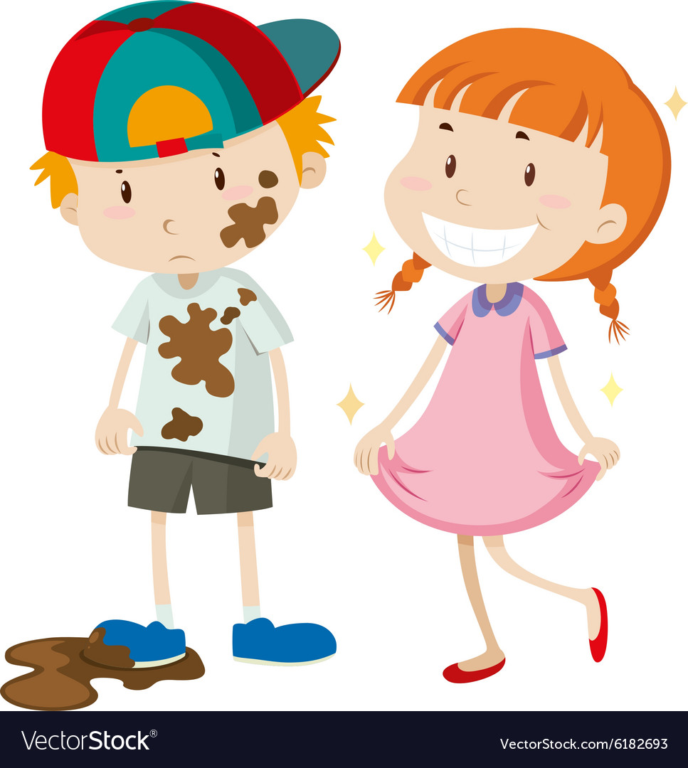 Dirty Boy And Clean Girl Royalty Free Vector Image-5110