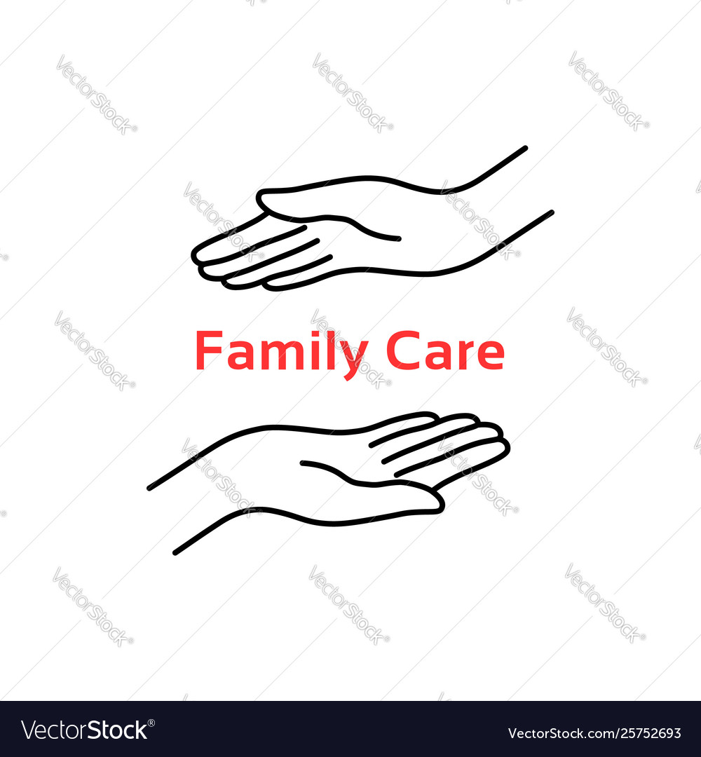Family care logo with thin line hand